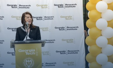 Interim-director-Lora-Weiss-speaks-at-GTRI-ribbon-cutting-ceremony